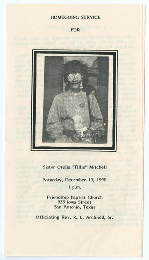 [Funeral Program for Otelia Mitchell, December 15, 1990]