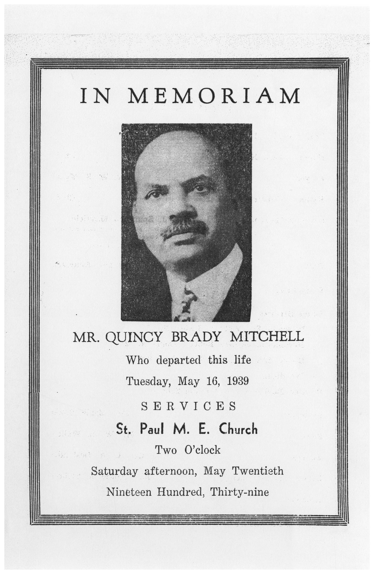 [Funeral Program for Quincy Brady Mitchell, May 20, 1939]                                                                                                      [Sequence #]: 1 of 3