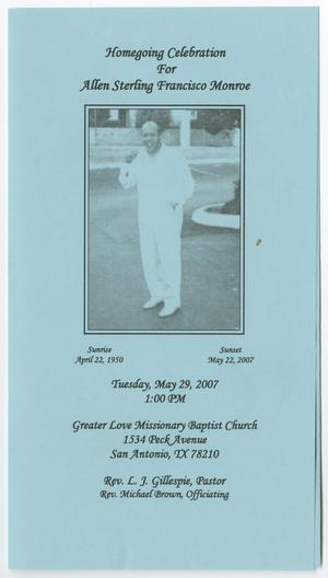 Primary view of object titled '[Funeral Program for Allen Sterling Francisco Monroe, May 29, 2007]'.