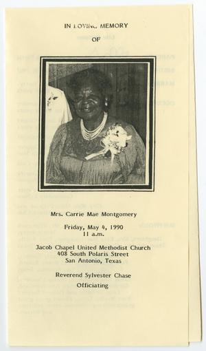 Primary view of object titled '[Funeral Program for Carrie Mae Montgomery, May 4, 1990]'.