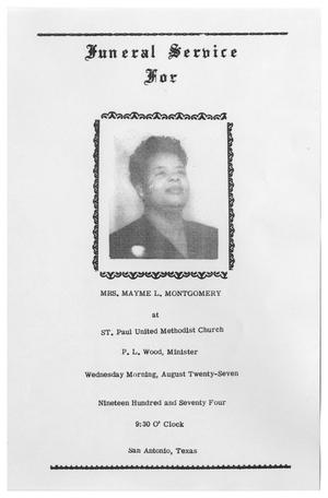 Primary view of object titled '[Funeral Program for Mayme L. Montgomery, August 27, 1974]'.