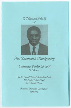 Primary view of object titled '[Funeral Program for Zephaniah Montgomery, October 26, 1994]'.