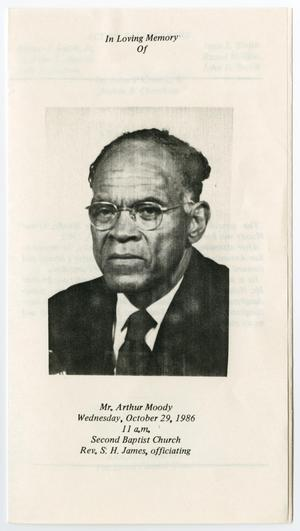 Primary view of object titled '[Funeral Program for Arthur Moody, October 29, 1986]'.