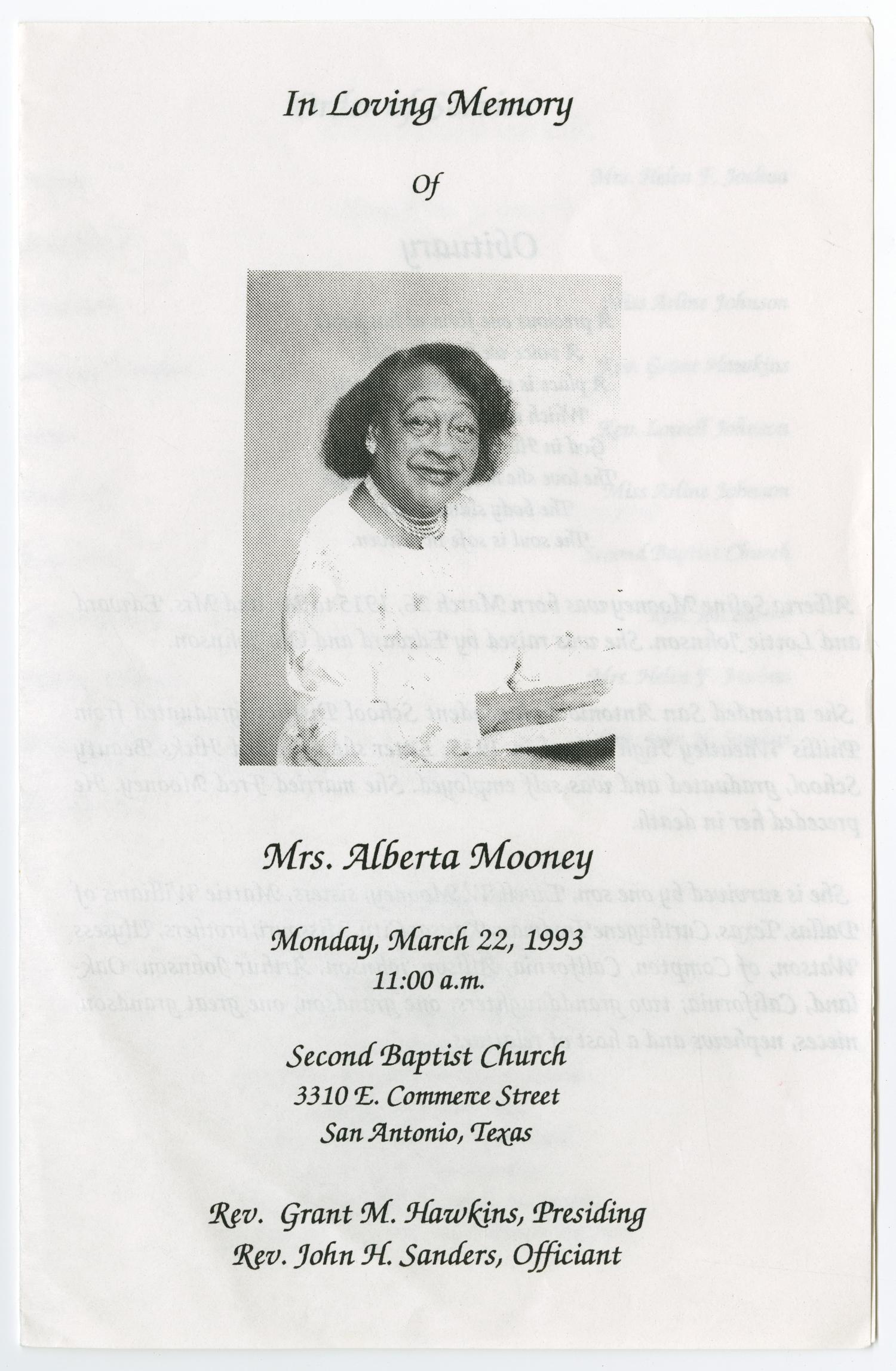 [Funeral Program for Alberta Mooney, March 22, 1993]                                                                                                      [Sequence #]: 1 of 3
