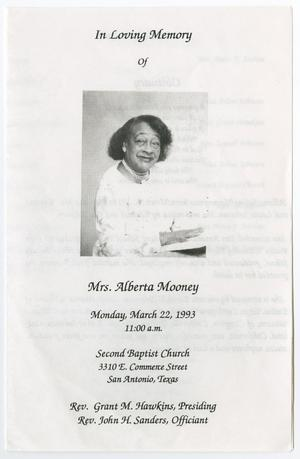 Primary view of object titled '[Funeral Program for Alberta Mooney, March 22, 1993]'.