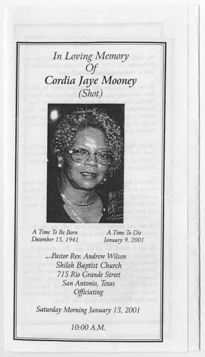 Primary view of object titled '[Funeral Program for Cordia Jaye Mooney, January 13, 2001]'.