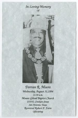 Primary view of object titled '[Funeral Program for Dorran R. Moore, August 31, 1994]'.