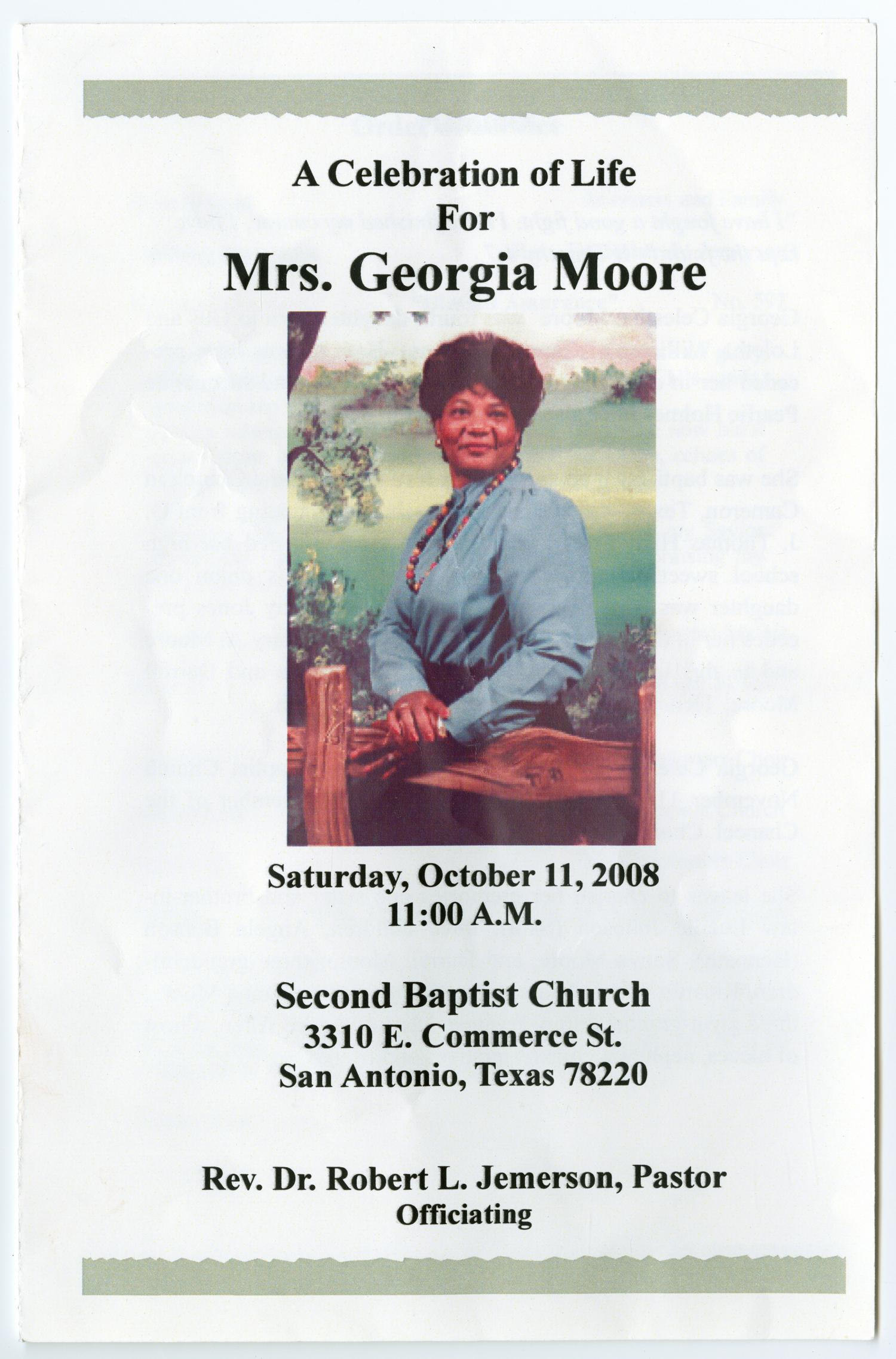 [Funeral Program for Georgia Moore, October 11, 2008]                                                                                                      [Sequence #]: 1 of 3