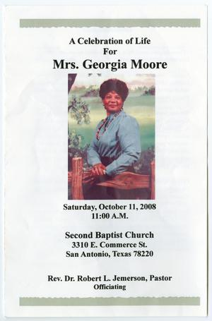 Primary view of object titled '[Funeral Program for Georgia Moore, October 11, 2008]'.