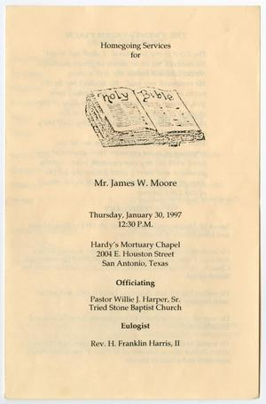 Primary view of object titled '[Funeral Program for James W. Moore, January 30, 1997]'.