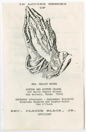 Primary view of object titled '[Funeral Program for Melody Moore, September 11, 1986]'.