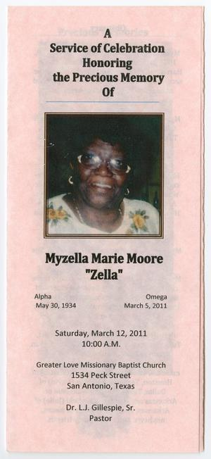 [Funeral Program for Myzella Marie Moore, March 12, 2011]