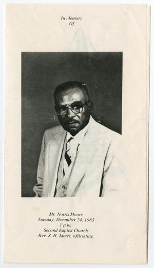 [Funeral Program for Norris Moore, December 24, 1985]