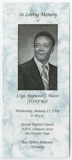Primary view of object titled '[Funeral Program for Raymond C. Moore, January 17, 1996]'.