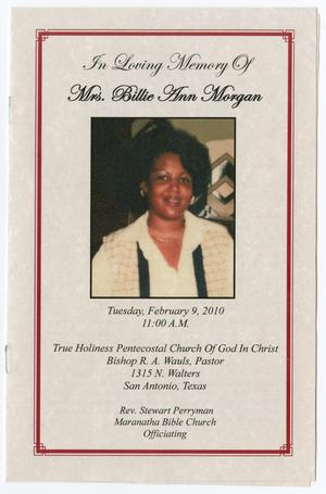 Primary view of object titled '[Funeral Program for Billie Ann Morgan, February 9, 2010]'.
