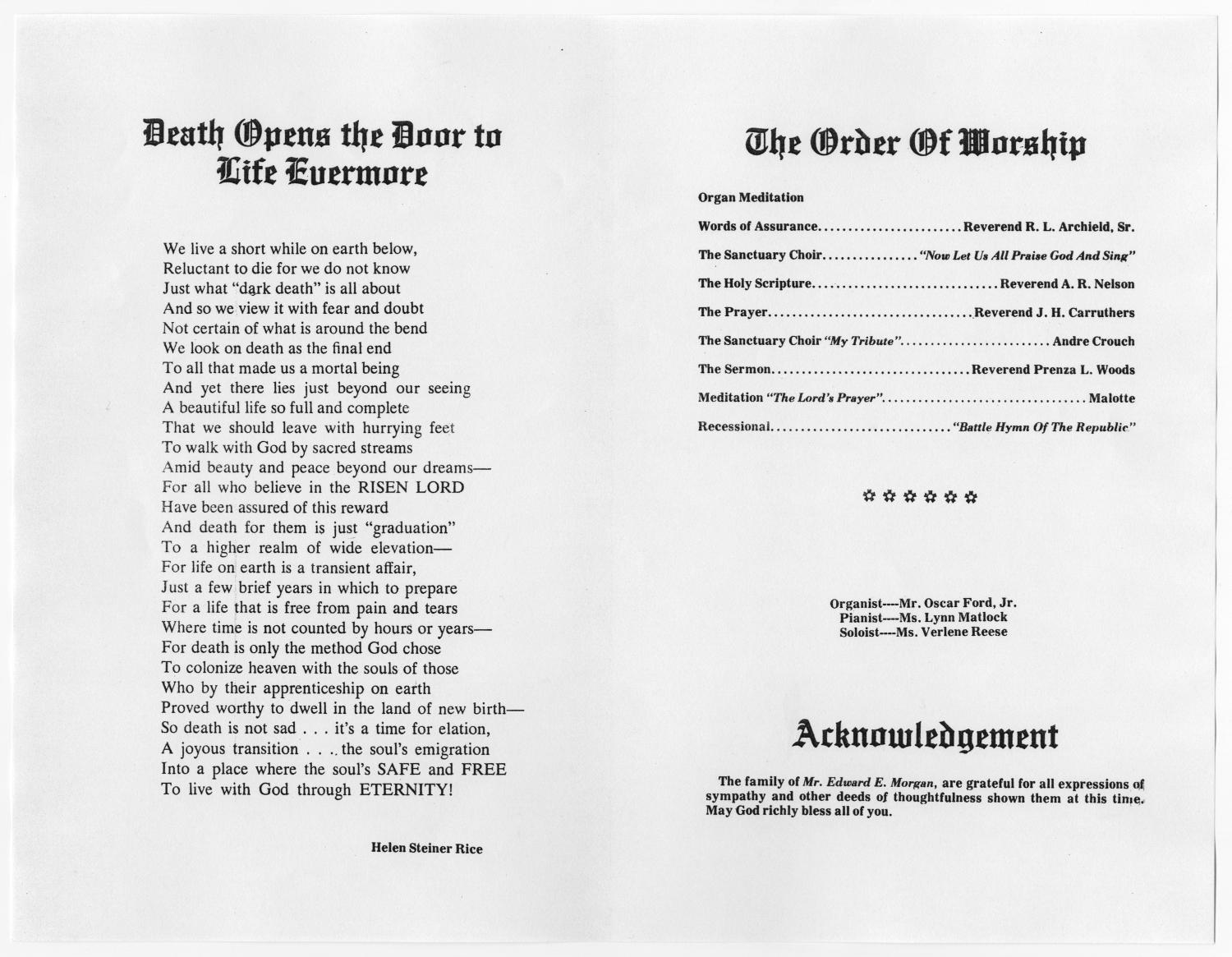 [Funeral Program for Edward Eugene Morgan, September 27, 1980]                                                                                                      [Sequence #]: 2 of 3