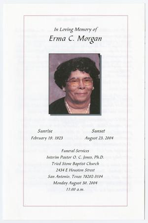 Primary view of object titled '[Funeral Program for Erma C. Morgan, August 30, 2004]'.