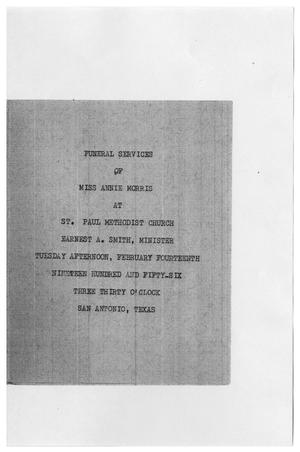 Primary view of object titled '[Funeral Program for Annie Morris, February 14, 1956]'.