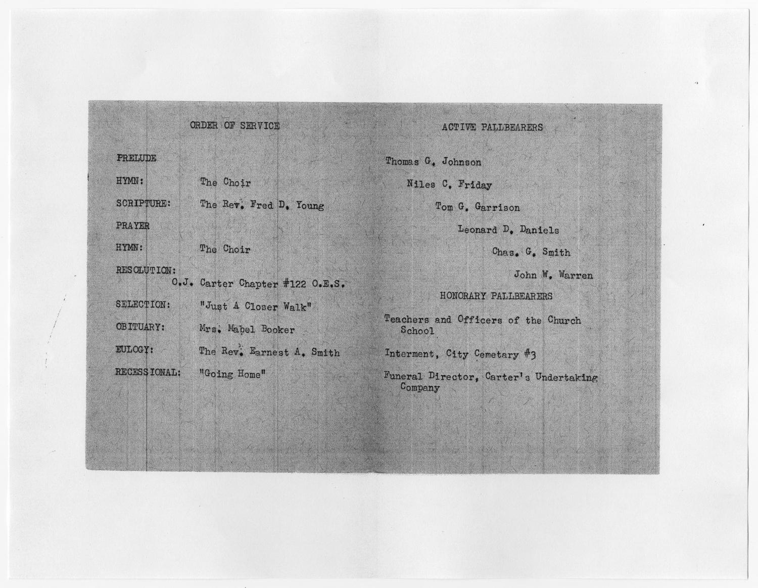 [Funeral Program for Annie Morris, February 14, 1956]                                                                                                      [Sequence #]: 2 of 3