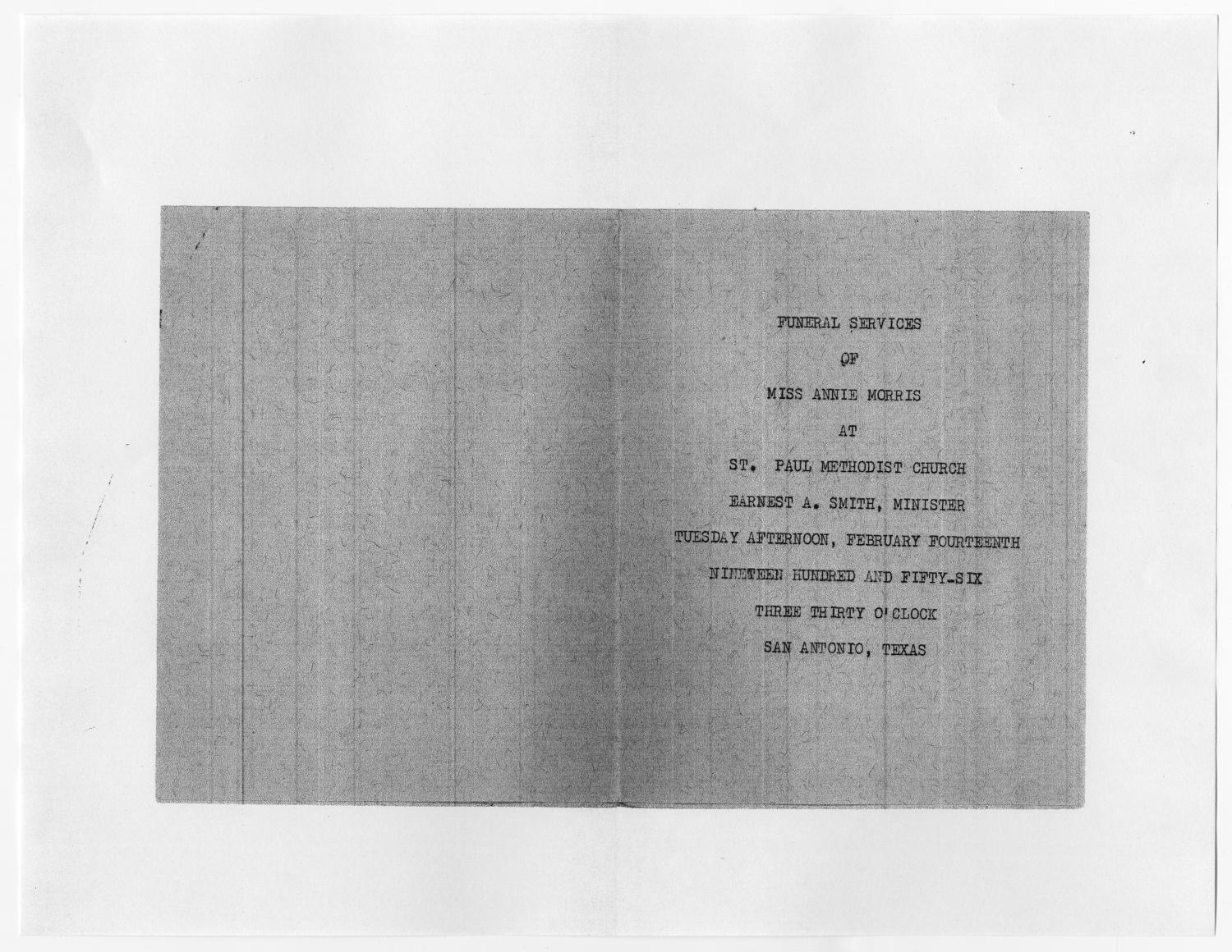 [Funeral Program for Annie Morris, February 14, 1956]                                                                                                      [Sequence #]: 3 of 3
