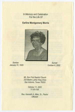 Primary view of object titled '[Funeral Program for Earline Montgomery Morris, October 11, 2002]'.