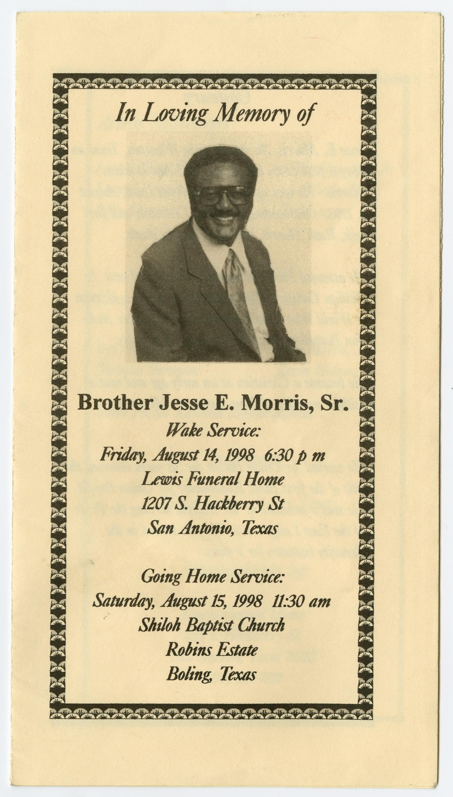 [Funeral Program for Jesse E. Morris, Sr., August 14, 1998]                                                                                                      [Sequence #]: 1 of 3
