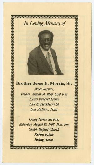 funeral program for jesse e morris sr august 14 1998 the