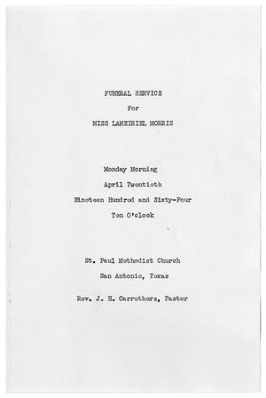 Primary view of object titled '[Funeral Program for Lameiriel Morris, April 20, 1964]'.