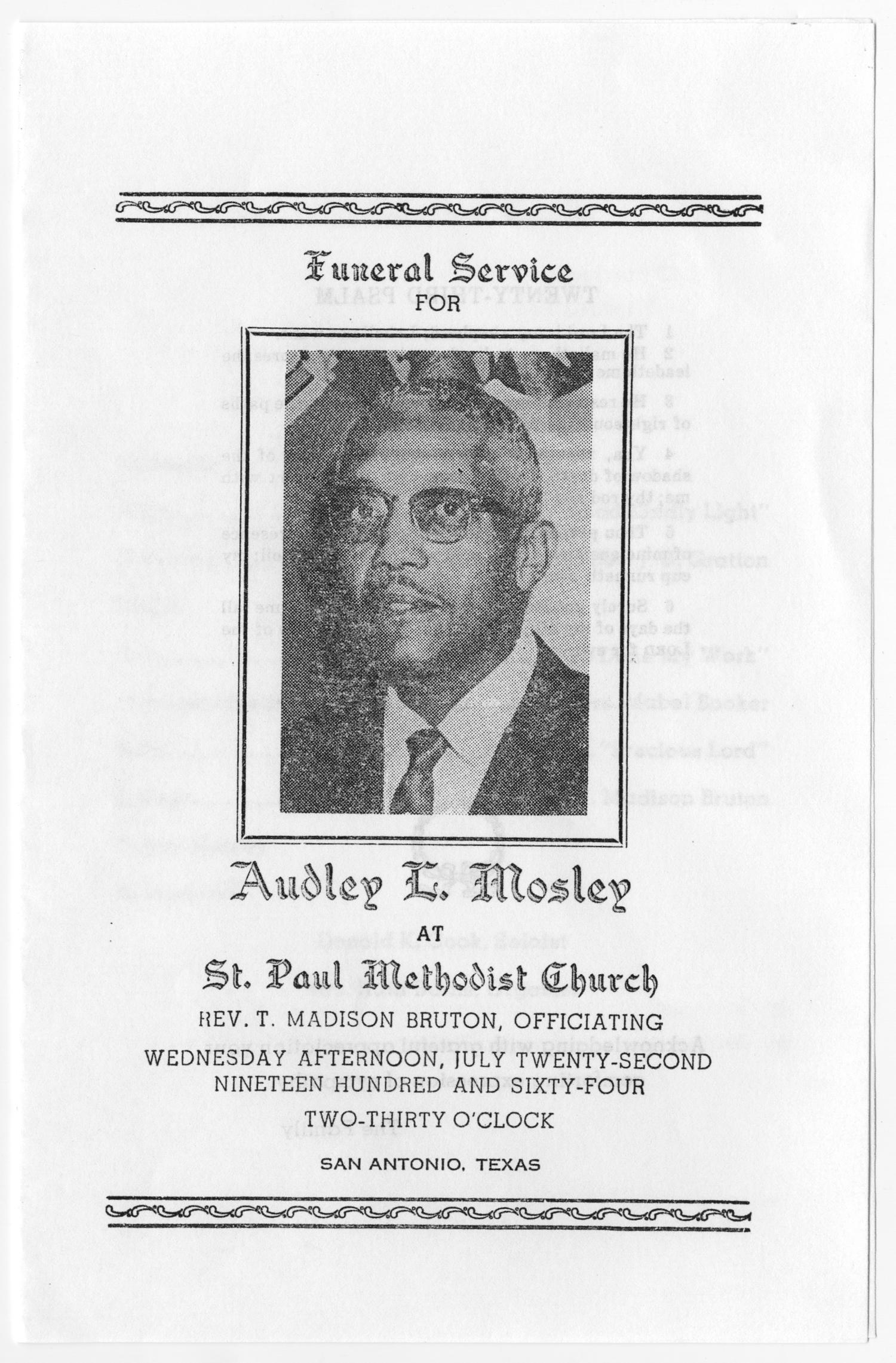 [Funeral Program for Audley E. Mosley, July 22, 1964]                                                                                                      [Sequence #]: 1 of 3