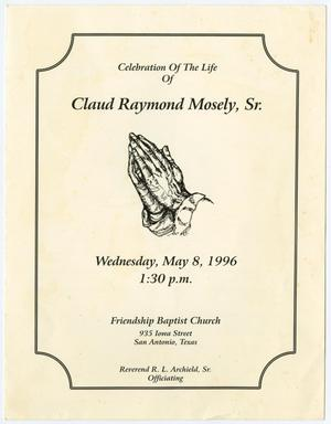 Primary view of object titled '[Funeral Program for Claud Raymond Mosely, Sr., May 8, 1996]'.