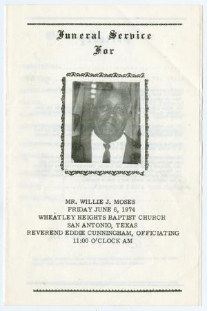 Primary view of object titled '[Funeral Program for Willie J. Moses, June 6, 1974]'.