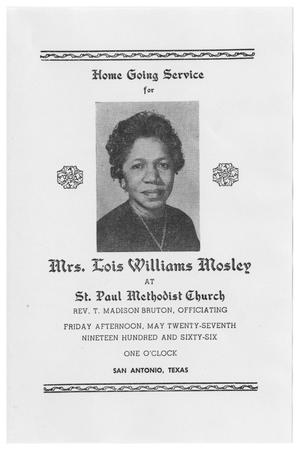 Primary view of object titled '[Funeral Program for Lois Williams Mosley, May 27, 1966]'.