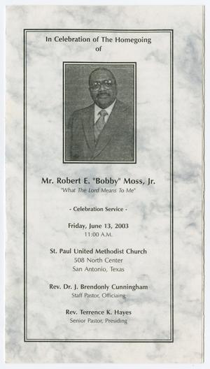 Primary view of object titled '[Funeral Program for Robert E. Moss, Jr., June 13, 2003]'.