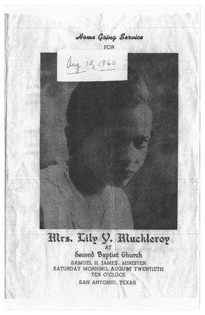 Primary view of object titled '[Funeral Program for Lily Y. Muckleroy, August 20, 1960]'.