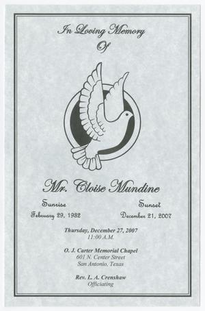 Primary view of object titled '[Funeral Program for Cloise Mundine, December 27, 2007]'.