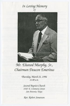 Primary view of object titled '[Funeral Program for Elwood Murphy, Sr., March 21, 1996]'.