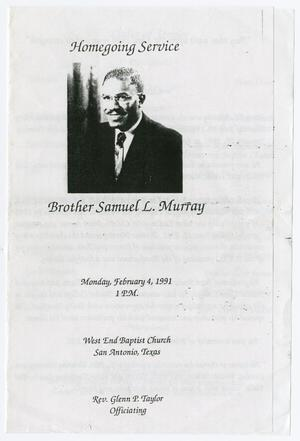Primary view of object titled '[Funeral Program for Samuel L. Murray, February 4, 1991]'.