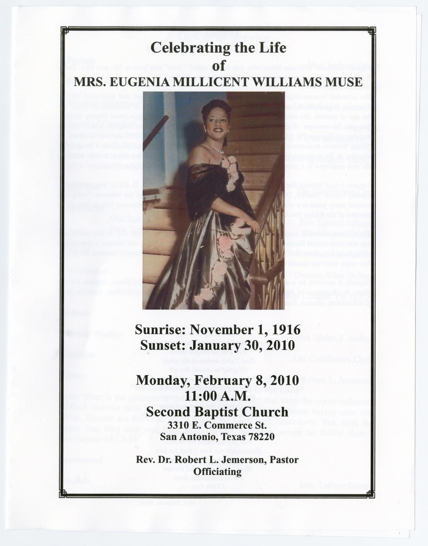 [Funeral Program for Eugenia Millicent Williams Muse, February 8, 2010]                                                                                                      [Sequence #]: 1 of 4