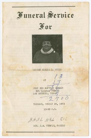 Primary view of object titled '[Funeral Program for Birdie J. Myers, August 28, 1973]'.