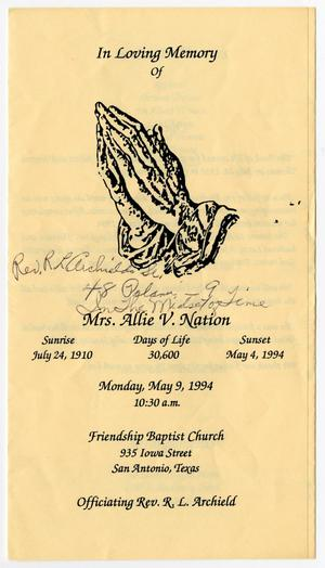 Primary view of object titled '[Funeral Program for Allie V. Nation, May 9, 1994]'.