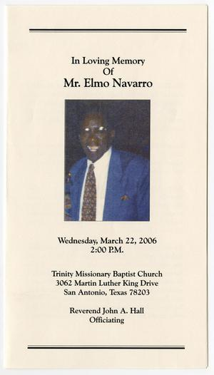 Primary view of object titled '[Funeral Program for Elmo Navarro, March 22, 2006]'.