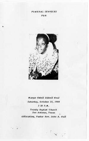 Primary view of object titled '[Funeral Program for Margie Estell Dibrell Neal, October 22, 1988]'.