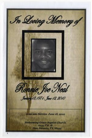 Primary view of object titled '[Funeral Program for Ronnie Joe Neal, June 18, 2010]'.