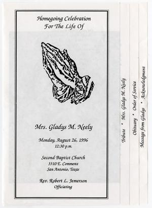 Primary view of object titled '[Funeral Program for Gladys M. Neely, August 26, 1996]'.