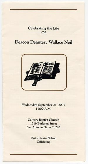 Primary view of object titled '[Funeral Program for Deautery Wallace Neil, September 21, 2005]'.