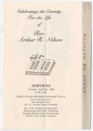 Primary view of object titled '[Funeral Program for Arthur R. Nelson, April 24, 1990]'.