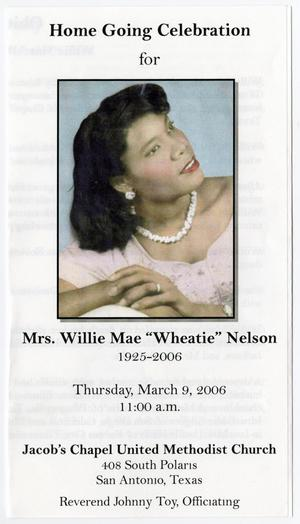 Primary view of object titled '[Funeral Program for Willie Mae Nelson, March 9, 2006]'.