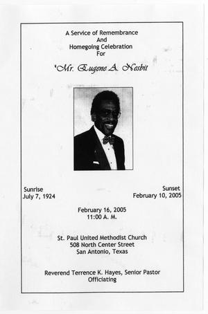 Primary view of object titled '[Funeral Program for Eugene A. Nesbit, February 16, 2005]'.