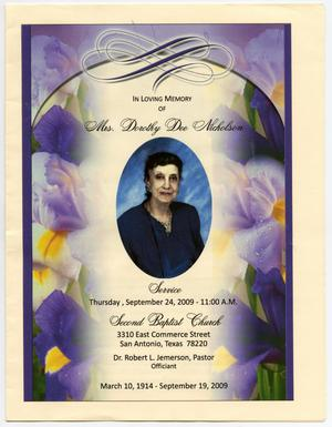 [Funeral Program for Dorothy Dee Nicholson, September 24, 2009]