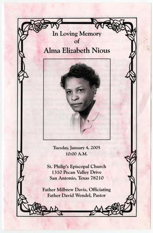 Primary view of object titled '[Funeral Program for Alma Elizabeth Nious, January 4, 2005]'.
